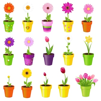 Frühlingsblumen in töpfen, auf weißem hintergrund, illustration