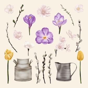 Frühlingsblumen mit weidenkätzchen und zinn