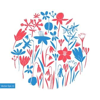 Frühlingsblumen rundes design. handgezeichnete illustrationen