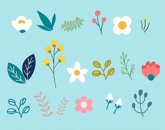 Frühlingsblumen-satz eingestellt