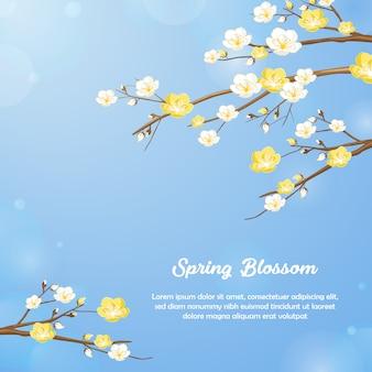 Frühlingsblumenblüten-hintergrunddesign im blau