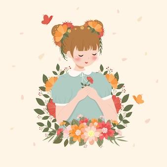 Frühlingsblumenfrauenporträtillustration