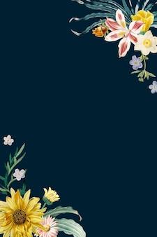 Frühlingsblumengrenzeweinleserahmenvektor