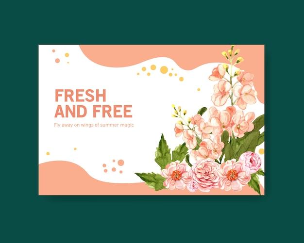 Frühlingsblumenillustration mit titelschablone