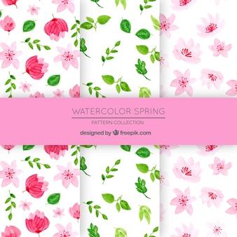 Frühlingsblumenmustersammlung in der aquarellart