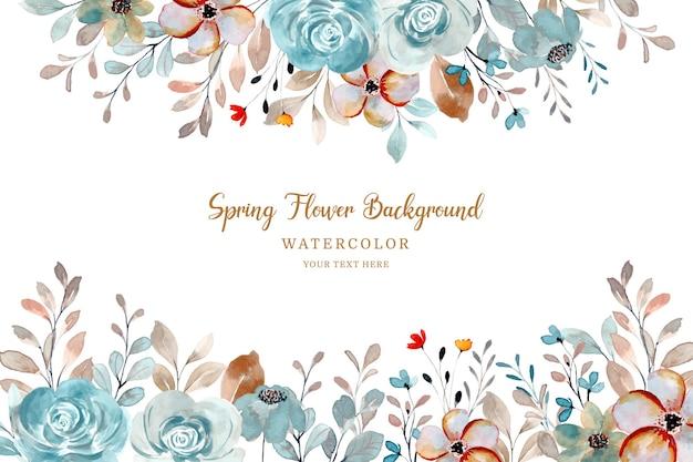 Frühlingsblumenrahmen aquarellrosenblumenhintergrund