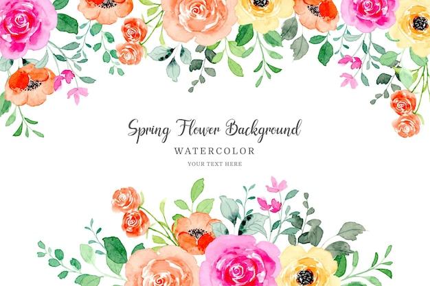 Frühlingsblumenrahmen bunter blumenhintergrund mit aquarell