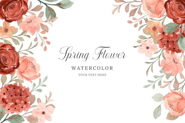 Frühlingsblumenrahmen erröten und brauner blumenhintergrund mit aquarell