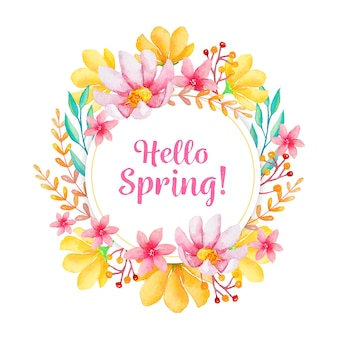 Frühlingsblumenrahmen im aquarell