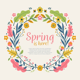 Frühlingsblumenrahmen im flachen design