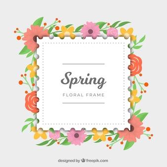 Frühlingsblumenrahmen in der flachen art