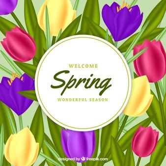 Frühlingsblumenrahmen in der realistischen art