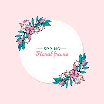 Frühlingsblumenrahmen mit blättern