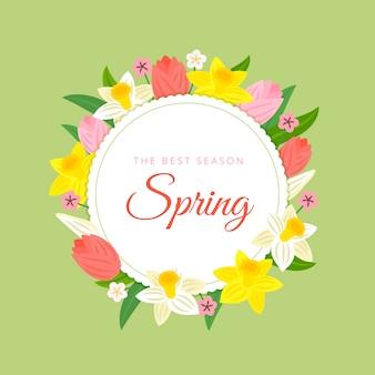 Frühlingsblumenrahmen mit zusammenstellung von blumen