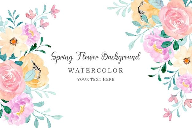 Frühlingsblumenrahmen schöner blumenhintergrund mit aquarell