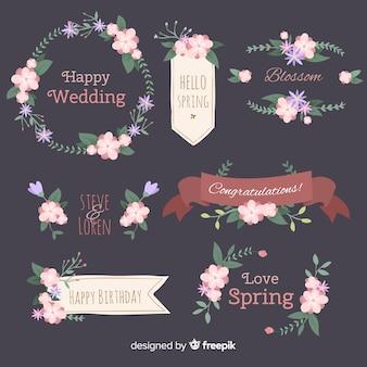 Frühlingsblumenrahmen- und -dekorationansammlung