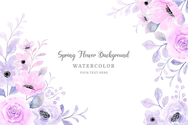 Frühlingsblumenrahmen weicher rosa lila blumenaquarellhintergrund