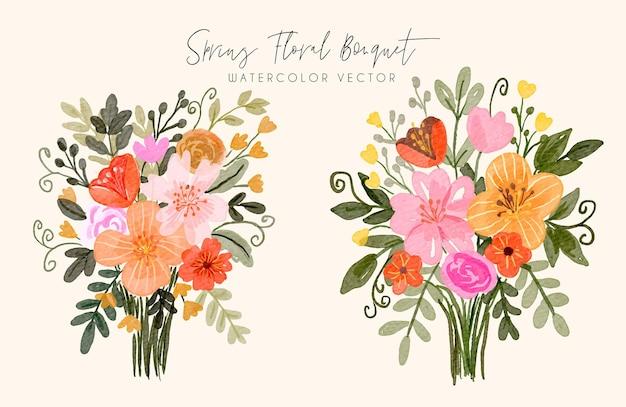 Frühlingsblumenstrauß-aquarell-satz
