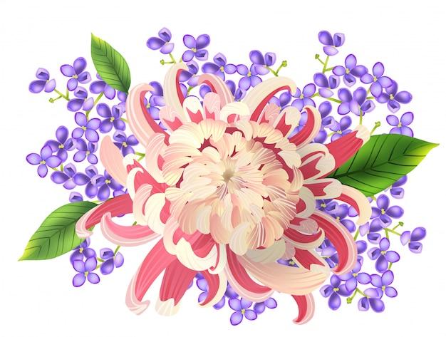 Frühlingsblumenstrauß der rosa aster und des phlox. aquarellmalerei