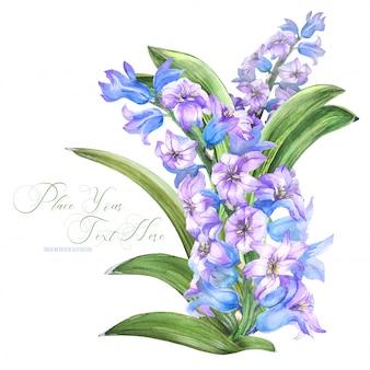 Frühlingsblumenstrauß mit hyachinthblumen durch aquarell