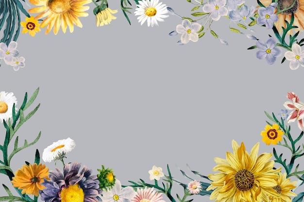 Frühlingsblumenweinleserahmenvektor