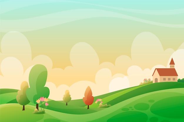 Frühlingsentspannende landschaft mit grünen hügeln und kirche