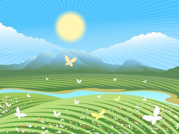 Frühlingsfarmlandschaft. grünes feld auf den hügeln mit blumen und schmetterlingen nahe dem fluss.