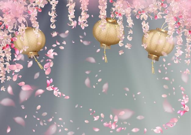 Frühlingsfest mit kirschblüte, fliegenden blütenblättern und orientalischen laternen