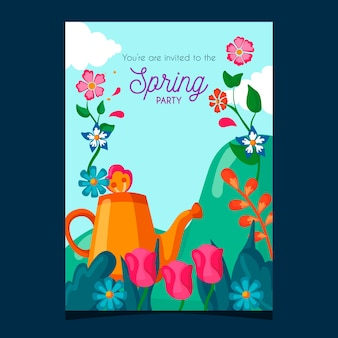 Frühlingsfest-plakatschablone mit blumen und gießkanne