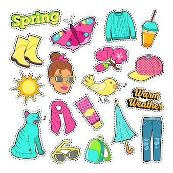 Frühlingsfrauenmode mit kleidung und accessoires für abzeichen, aufkleber, aufnäher. vektor-gekritzel