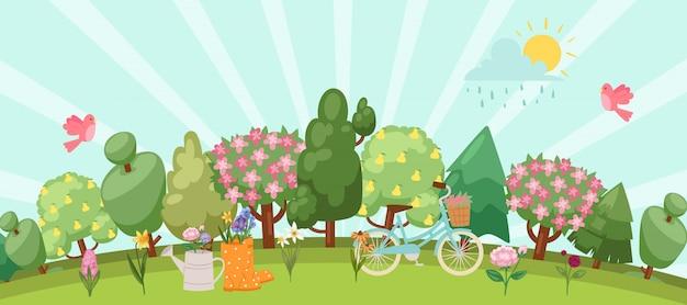 Frühlingsgarten-osterkonzept mit vögeln, blühenden bäumen, gras, löwenzahn und gänseblümchen in gummistiefel und gießkanne, fahrradkarikaturillustration.