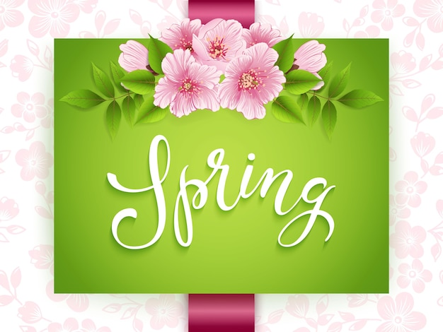 Frühlingsgrünkarte mit rosa blumen