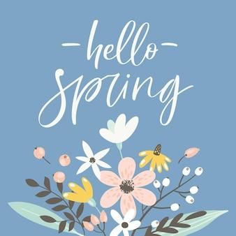 Frühlingsgrußkarte mit beschriftung und handgezeichneten blumen.