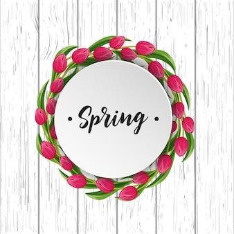 Frühlingsgrußkarte mit blühender tulpe