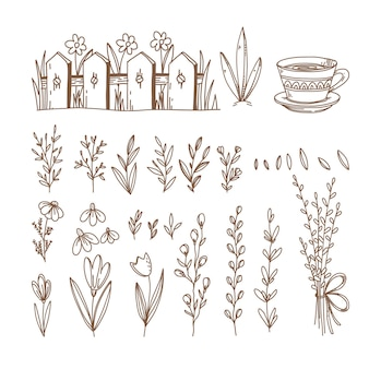 Frühlingshand gezeichnete symbole und objekte