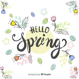 Frühlingshintergrund beschriftend