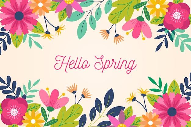 Frühlingshintergrund im flachen design