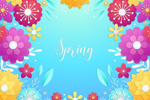 Frühlingshintergrund in der bunten papierart mit buntem rahmen von blumen