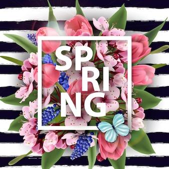 Frühlingshintergrund mit blühenden frühlingsblumen rosa tulpen kirschblüten vector