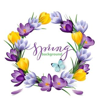 Frühlingshintergrund mit einem kranz aus blühenden frühlingsblumen, krokussen. vektor-illustration
