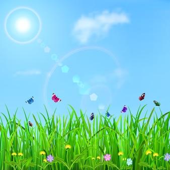Frühlingshintergrund mit himmel, sonne, gras, blumen und schmetterlingen