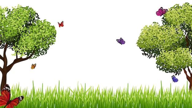 Frühlingshintergrund. realistische grüne graswiese, baum und fliegender schmetterling. ostern, vektorfahnenschablone der blühenden jahreszeit. graswiese sommer, rasengrün mit farbiger schmetterlingsillustration