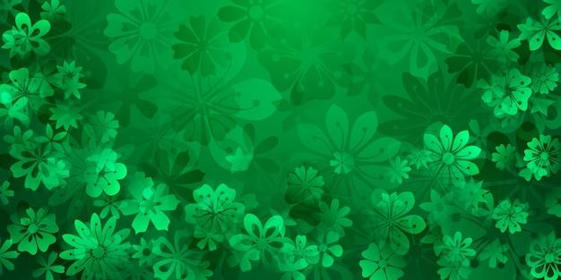 Frühlingshintergrund verschiedener blumen in grünen farben