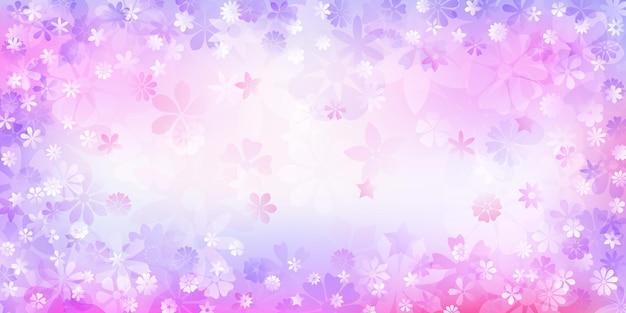 Frühlingshintergrund verschiedener blumen in lila farben