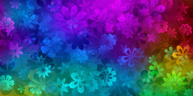 Frühlingshintergrund verschiedener blumen in regenbogenfarben