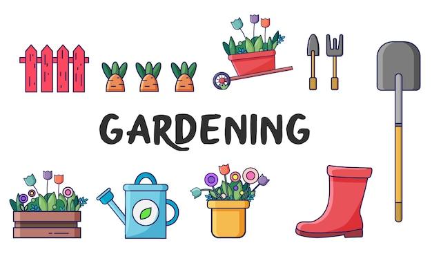 Frühlingsikonen, die mit gartenwerkzeugen gesetzt werden - schaufel, karotte, zaun, stiefel, ernte, blumen, gießkanne. sommer gartenelemente.