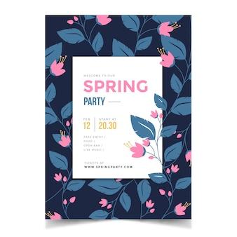 Frühlingsjahreszeit-parteiplakat mit blumen und blättern