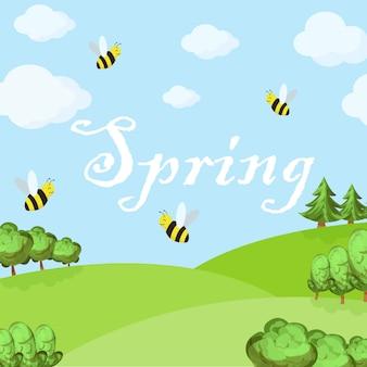 Frühlingskarikaturlandschaft mit bäumen und wolken