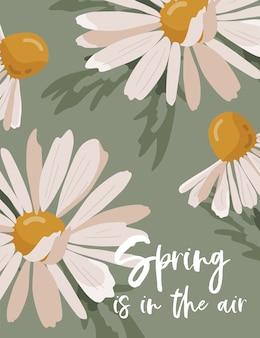 Frühlingskarte mit kamillenblume.