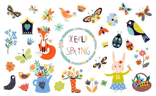 Frühlingskollektion mit dekorativen saisonalen elementen